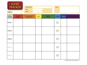 The Scene Tracker tracks scene-by-scene all the dates and settings; the character's emotional development and goals; the dramatic action; conflict; and the thematic significance, so that the whole does not become a tangled mess. The Scene Tracker helps you interweave all the threads for a successful narrative.